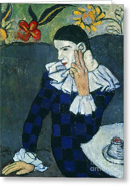Pablo Paintings Greeting Cards - Picasso Harlequin 1901 Greeting Card by Granger