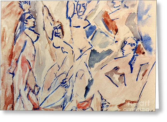 Demoiselles Greeting Cards - Picasso: Les Desmoiselles Greeting Card by Granger