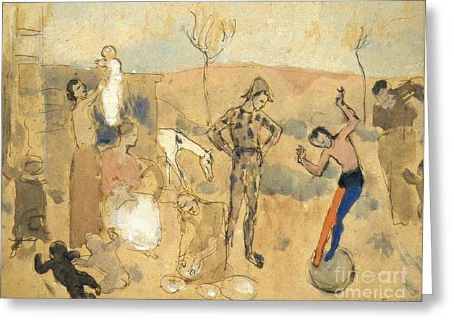 Pablo Picasso Greeting Cards - Picasso:circus Family,1905 Greeting Card by Granger