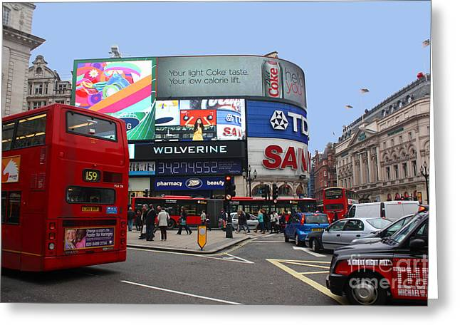 Piccadilly Circus London Greeting Card by Manuel Fernandes