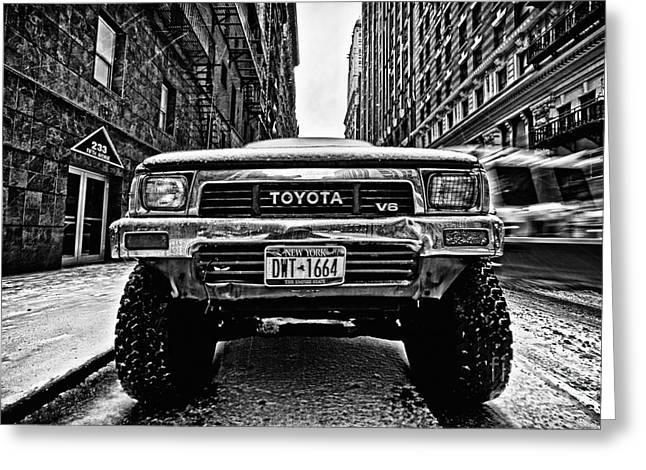 Cold Photographs Greeting Cards - Pick up truck on a New York street Greeting Card by John Farnan