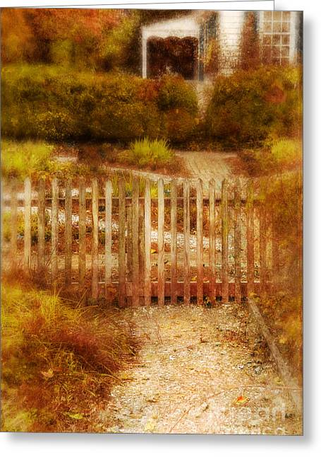 Brick Front Walk Greeting Cards - Picket Fence and Cottage Greeting Card by Jill Battaglia