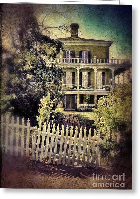 Brick Front Walk Greeting Cards - Picket Gate to Large House Greeting Card by Jill Battaglia