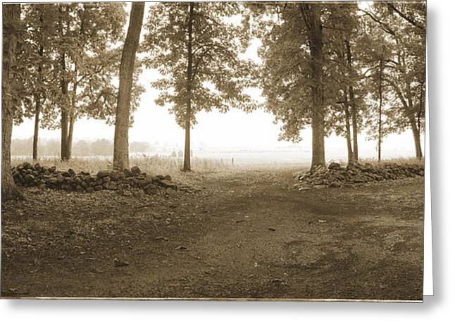 Sepia White Nature Landscapes Greeting Cards - Picketts Charge Gettysburg Greeting Card by Jan Faul
