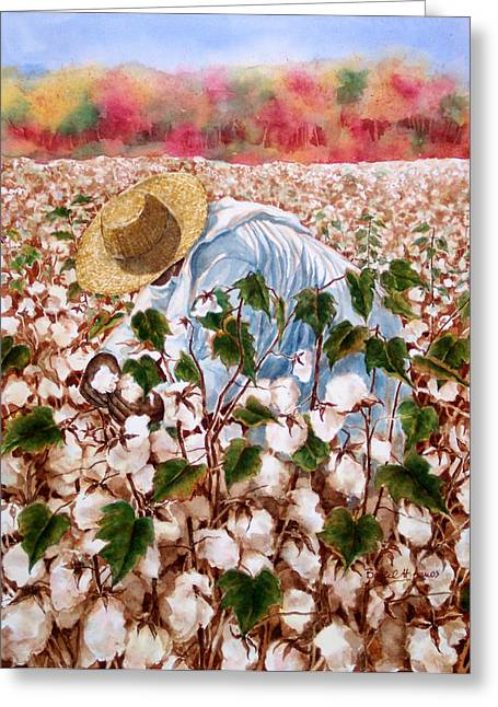 """cotton Field"" Greeting Cards - Picking Cotton Greeting Card by Barbel Amos"