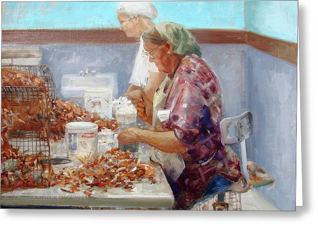 Manual Paintings Greeting Cards - Picking Crabs Greeting Card by Mitch Kolbe