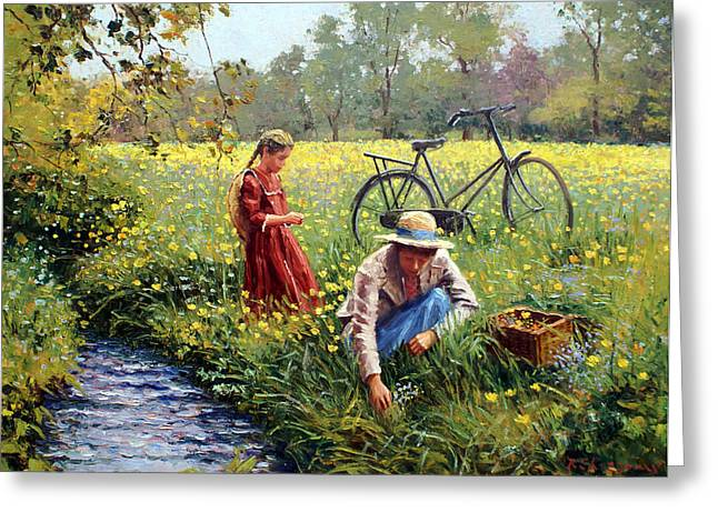 Little Red River Paintings Greeting Cards - Picking Yellow Flowers Greeting Card by Roelof Rossouw
