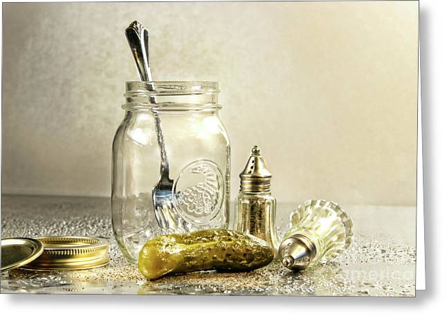 Grey Background Greeting Cards - Pickle with a jar and antique salt and pepper shakers Greeting Card by Sandra Cunningham