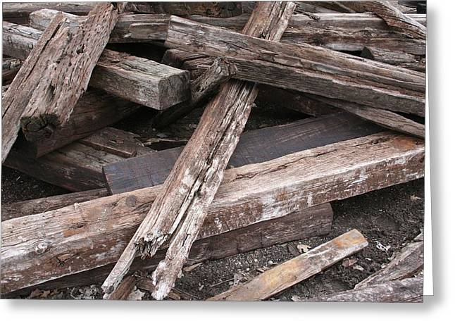 Railroad Tie Greeting Cards - PickUp Sticks Greeting Card by Odd Jeppesen