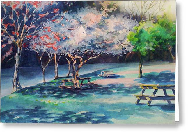 West Fork Paintings Greeting Cards - Picnic Area Greeting Card by Julie Morrison