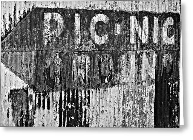 Devastation Greeting Cards - Picnic Ground monochrome Greeting Card by Steve Harrington