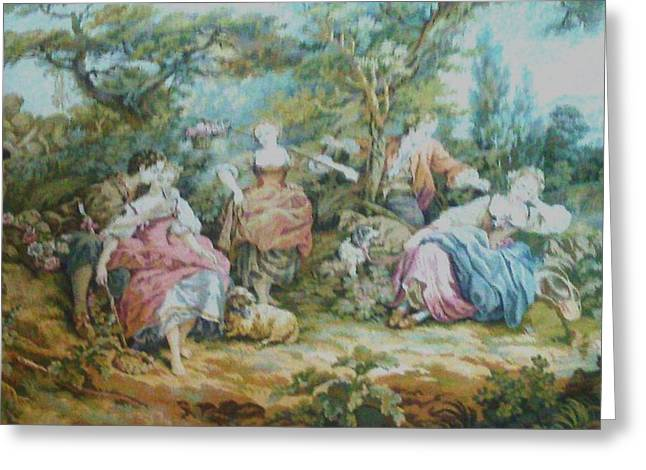 People Tapestries - Textiles Greeting Cards - Picnic in France Tapestry Greeting Card by Unique Consignment