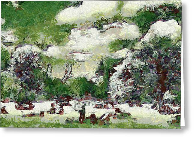 Sweating Paintings Greeting Cards - Picnic in park Greeting Card by Odon Czintos
