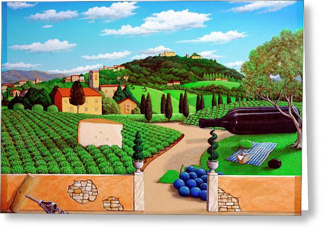 Whimsy Greeting Cards - Picnic in Tuscany Greeting Card by Snake Jagger