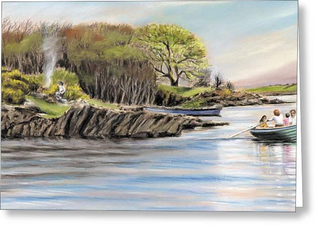Vanda Luddy Greeting Cards - Picnic on the lake Greeting Card by Vanda Luddy