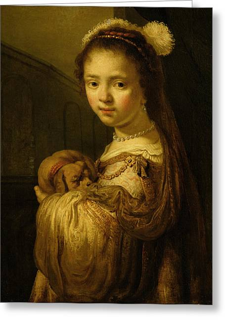 Interior Woman Greeting Cards - Picture of a Young Girl Greeting Card by Govaert Flinck
