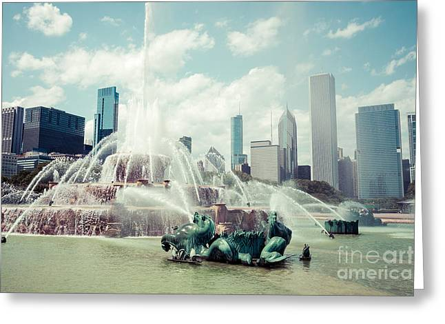 Spraying Greeting Cards - Picture of Buckingham Fountain with Chicago Skyline Greeting Card by Paul Velgos