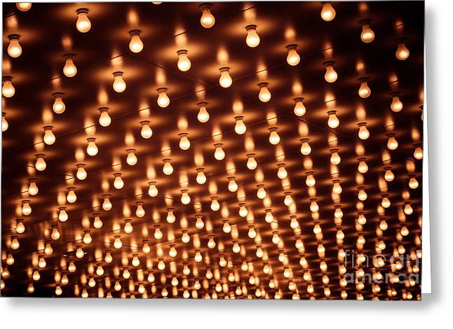Illuminated Greeting Cards - Picture of Theater Marquee Lights Greeting Card by Paul Velgos