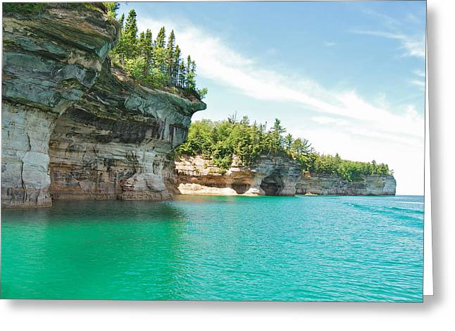 Peychich Greeting Cards - Pictured Rocks Greeting Card by Michael Peychich
