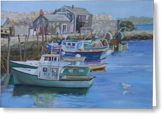 Lobster Shack Paintings Greeting Cards - Pidgeon Cove  Greeting Card by Michael McDougall