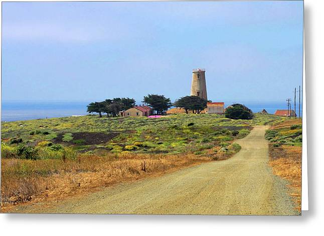 Water Tower Greeting Cards - Piedras Blancas historic Light Station - Outstanding Natural Area Central California Greeting Card by Christine Till