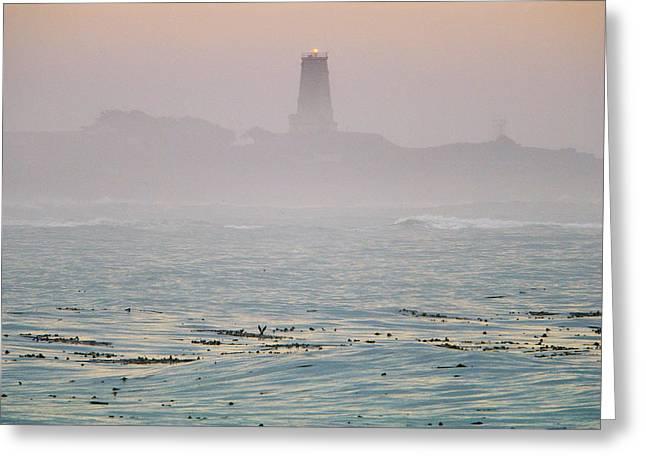 Big Sur California Greeting Cards - Piedras Blancas Lighthouse In The Fog Greeting Card by Rich Reid