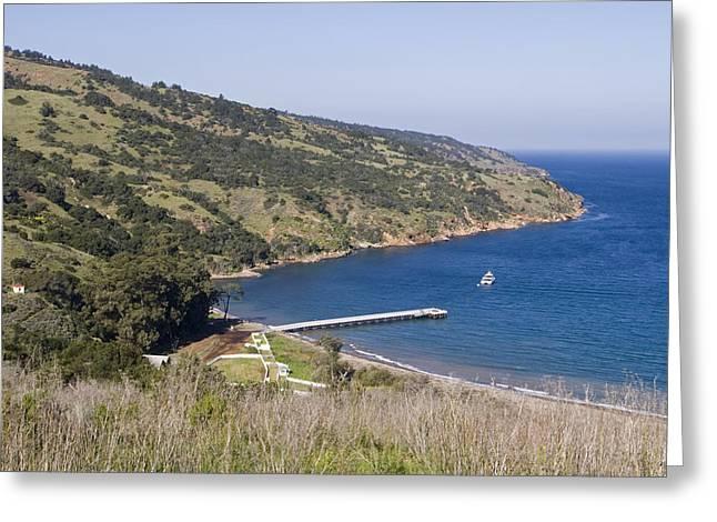 Santa Cruz Pier Greeting Cards - Pier And Boat In Prisoners Harbor Greeting Card by Rich Reid