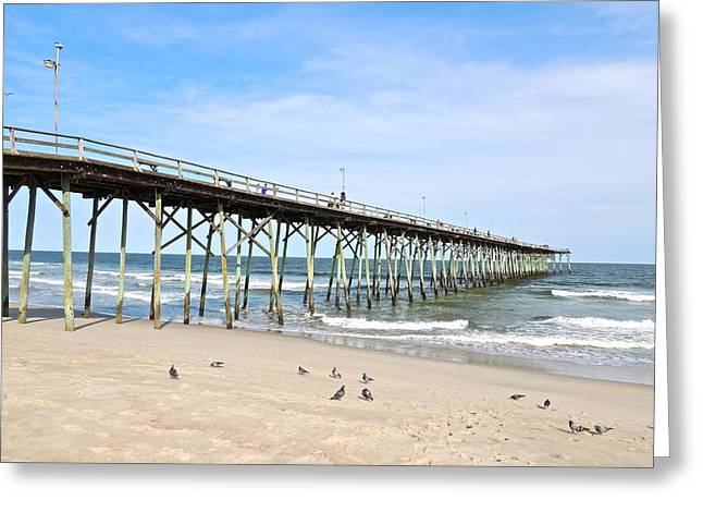 Pier At Kure Beach Greeting Card by Eve Spring