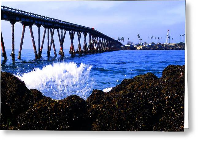 Ventura Pier Greeting Cards - Pier at Mussel Shoals Greeting Card by Ron Regalado