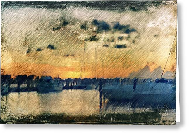 Scenario Greeting Cards - Pier at Sunset Greeting Card by Andrea Barbieri