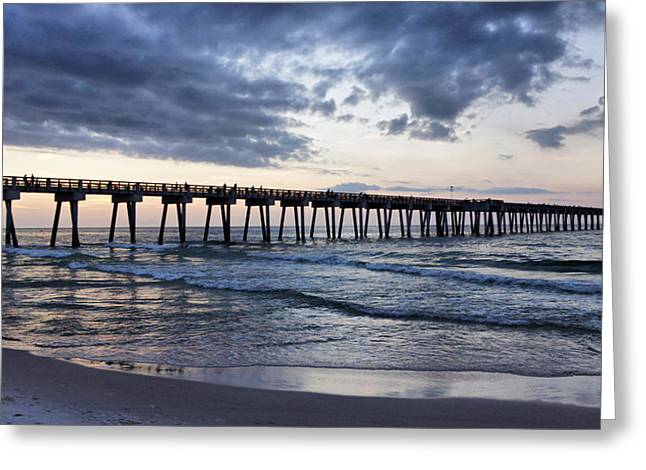 After Sunset Greeting Cards - Pier in the Evening Greeting Card by Sandy Keeton