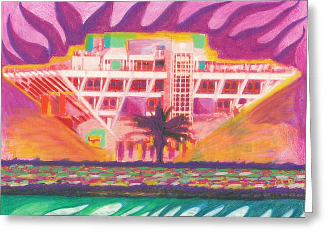 St Petersburg Florida Drawings Greeting Cards - PIER In The Pink Greeting Card by Sheree Rensel