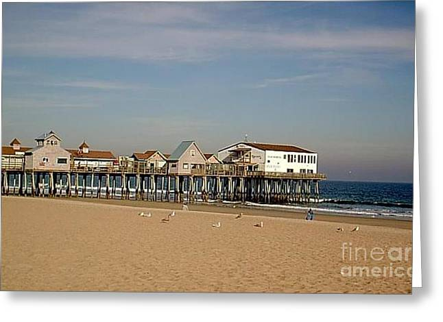 Photography Of Framed Pictures Greeting Cards - Pier Old Orchard Beach Maine Greeting Card by Jeannie Atwater Jordan Allen