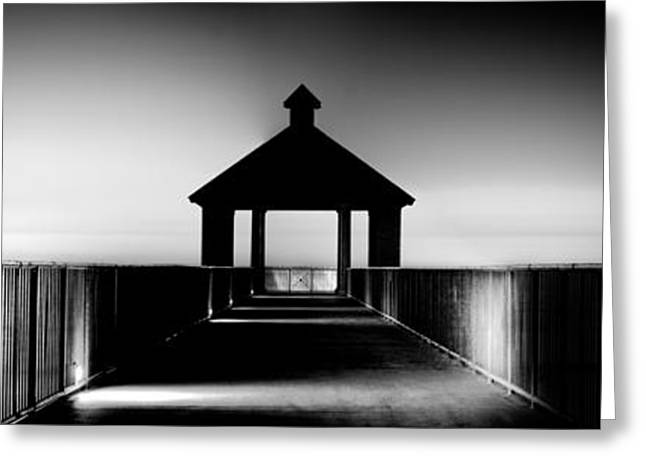 Light And Dark Greeting Cards - Pier Panoramic Greeting Card by Pixel Perfect by Michael Moore