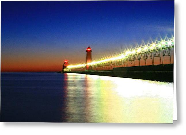 Pier reflection Greeting Card by Robert Pearson