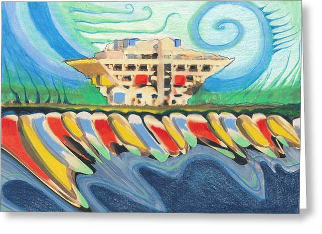 St Petersburg Florida Drawings Greeting Cards - PIER Water Winds Greeting Card by Sheree Rensel