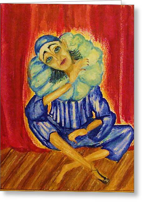 Pierrot Greeting Card by Jeanne Mytareva