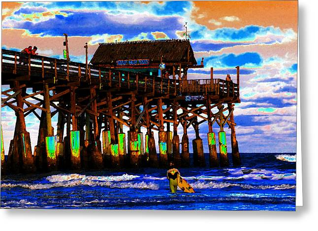 Surfing. Fishing Greeting Cards - Pierscape Greeting Card by David Lee Thompson