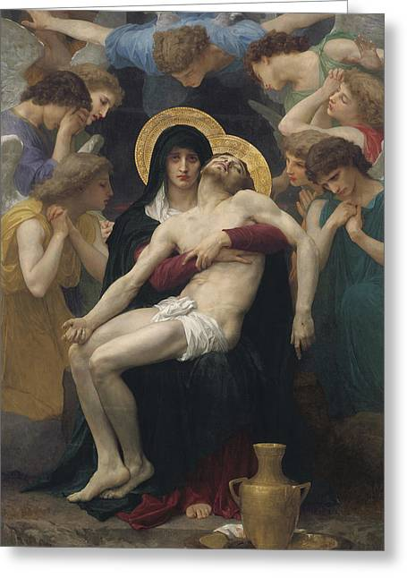 Virgin Greeting Cards - Pieta Greeting Card by William-Adolphe Bouguereau