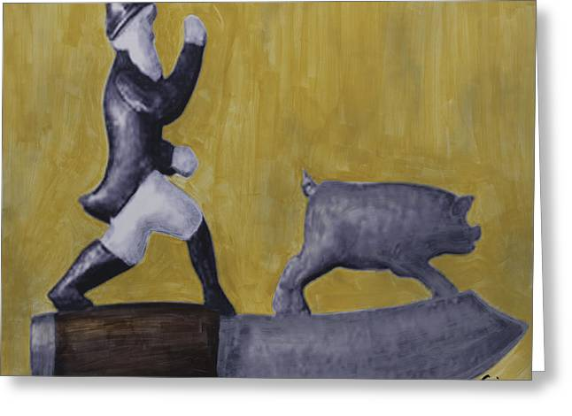 Pig Chasing Greeting Card by Eric Rhodes