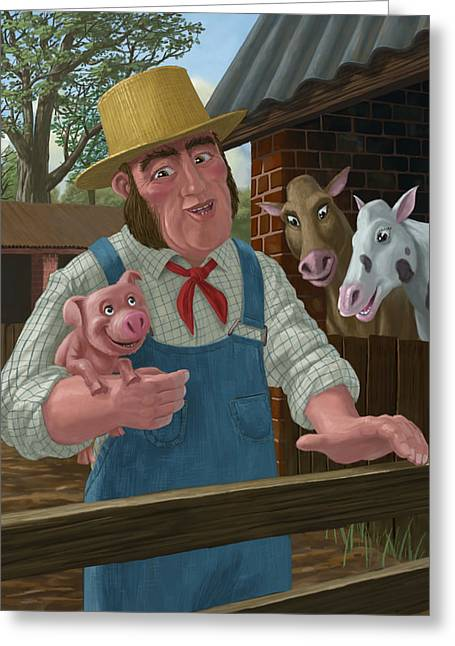Piglets Greeting Cards - Pig Farmer Greeting Card by Martin Davey