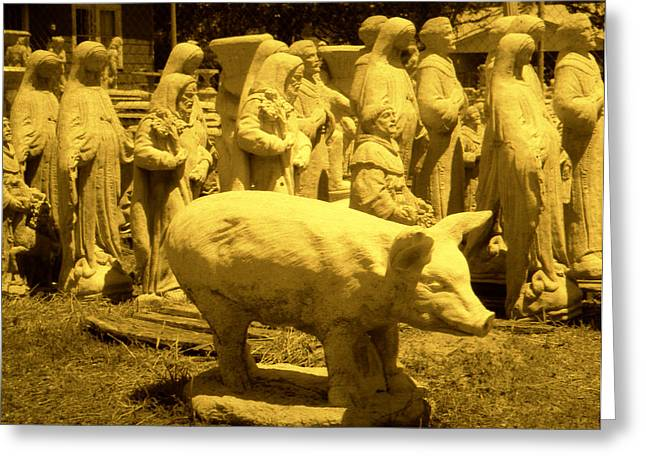 Toy Shop Greeting Cards - Pig Mary And Saints Greeting Card by Doug  Duffey