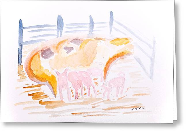 Piglets Greeting Cards - Pig with Piglets  Greeting Card by Simon Bratt Photography LRPS