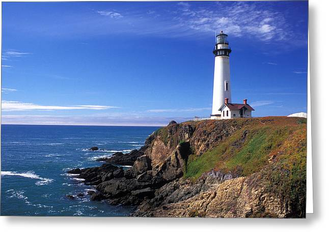 Lighthouse Photos Greeting Cards - Pigeon Point Lighthouse 2 Greeting Card by Kathy Yates