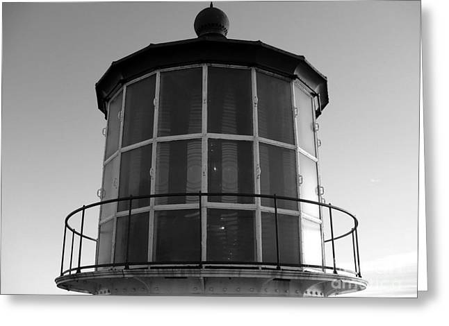 Pigeon Point Lighthouse Beacon - Black And White Greeting Card by Carol Groenen