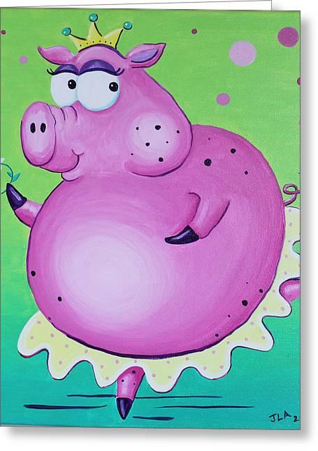 Tiara Paintings Greeting Cards - Piggerina Greeting Card by Jennifer Alvarez
