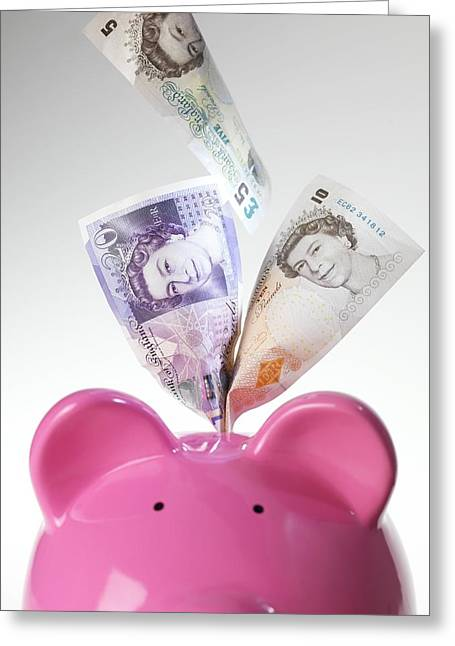 Gbp Greeting Cards - Piggy Bank And British Pounds Greeting Card by Tek Image