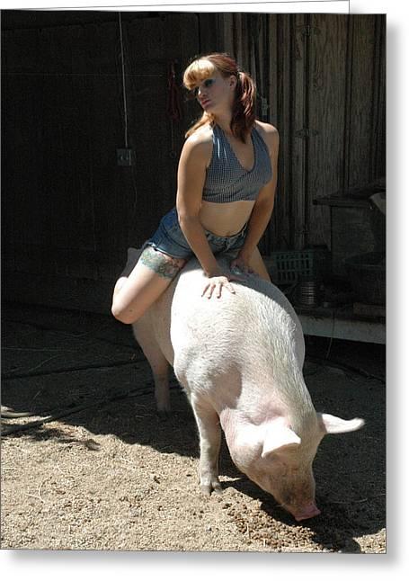 Sexy Pig Greeting Cards - Piggy Piggy Greeting Card by Liezel Rubin