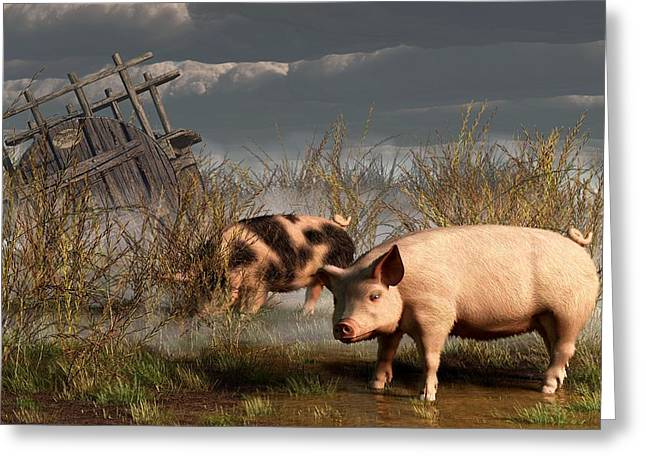 Pig Art Greeting Cards - Pigs After A Storm Greeting Card by Daniel Eskridge