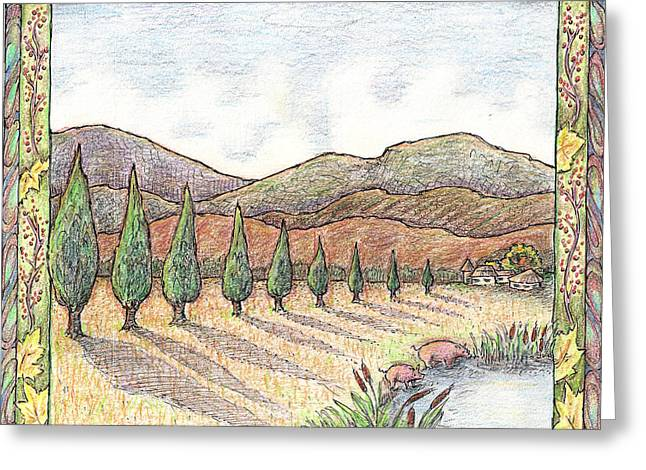 Field. Cloud Drawings Greeting Cards - Pigs and Cypress with border Greeting Card by Carolyn McNabb